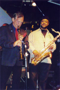 Alex Hutchinson with the American tenor sax player Eric Wyatt at JC's Jazz Club, Shanghai